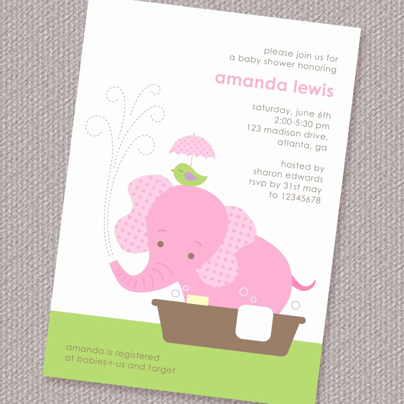 Elephant Invitation Baby Shower Unique Baby Elephant Girl Baby Shower Invitation Printable by