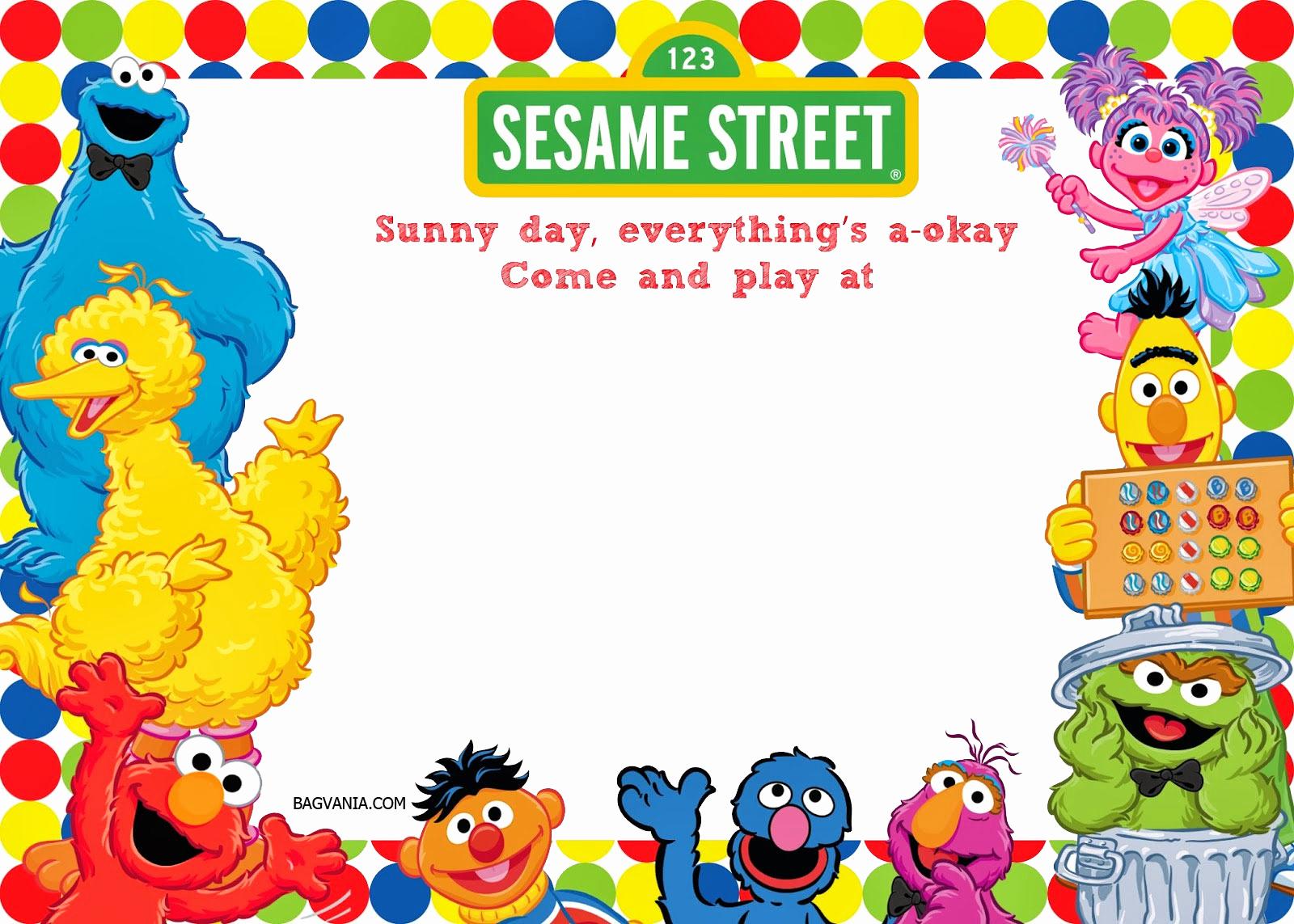 Elmo Birthday Invitation Template Fresh Free Printable Sesame Street 1st Birthday Invitations