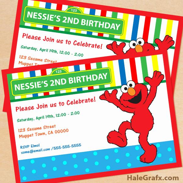 Elmo Birthday Invitation Template Fresh Free Printable Sesame Street Elmo Birthday Invitation