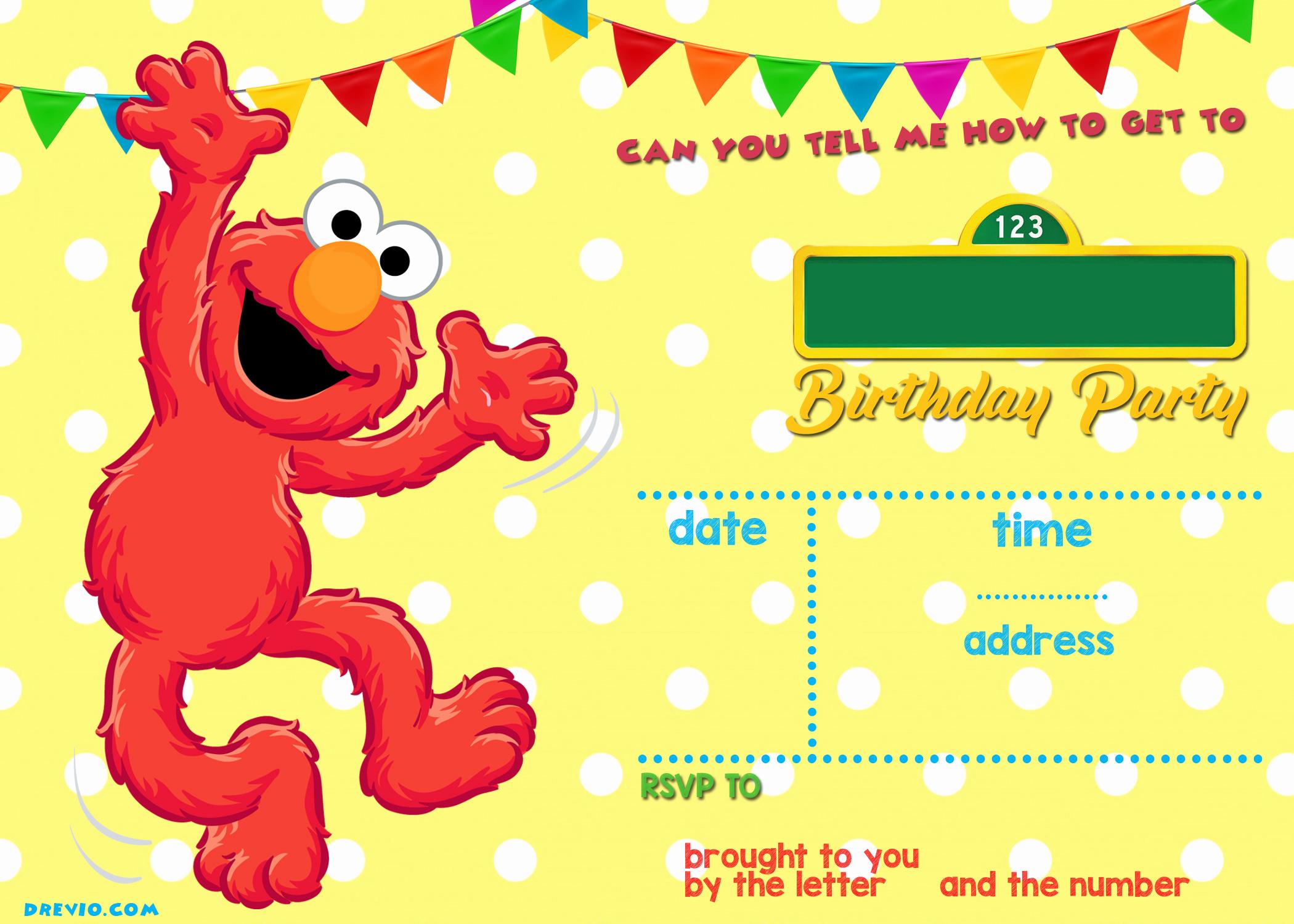Elmo Birthday Invitation Template Lovely Sesame Street Birthday Invitations Line Free