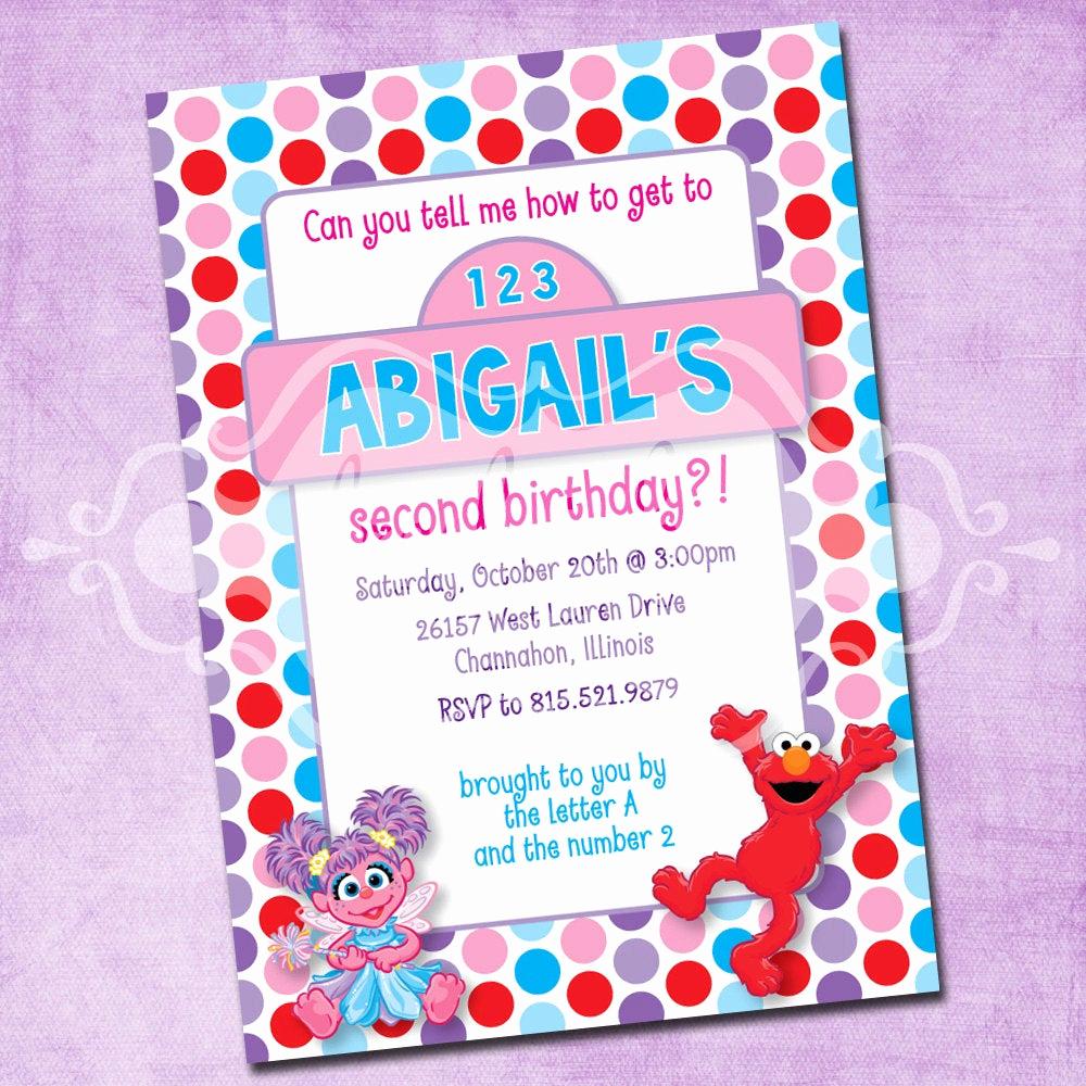 Elmo Birthday Invitation Template Unique Elmo and Abby Birthday Party Invitation