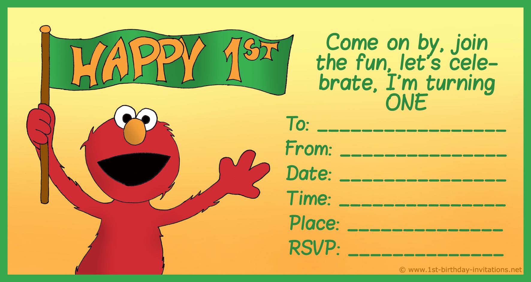 Elmo Birthday Invitation Template Unique Elmo Birthday Party Invitations Free Printable