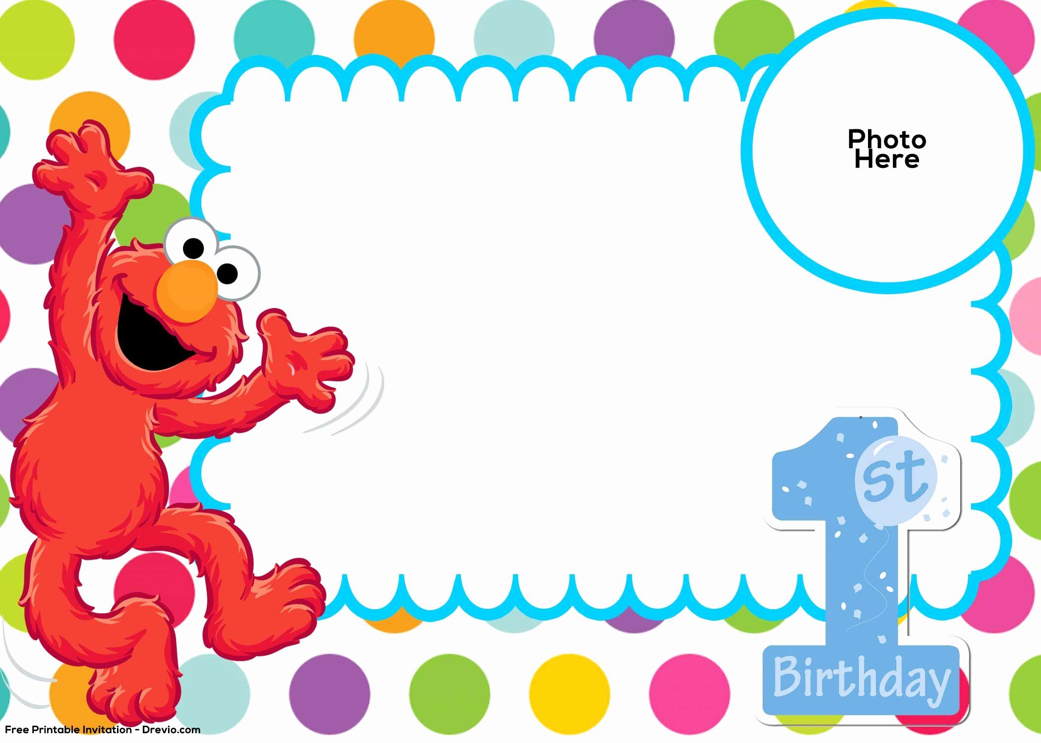 Elmo Birthday Invitation Template Unique Free Sesame Street 1st Birthday Invitation Template