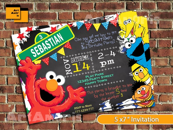 Elmo Invitation Template Free Lovely Elmo Invitation Elmo Birthday Invitation Sesame Street