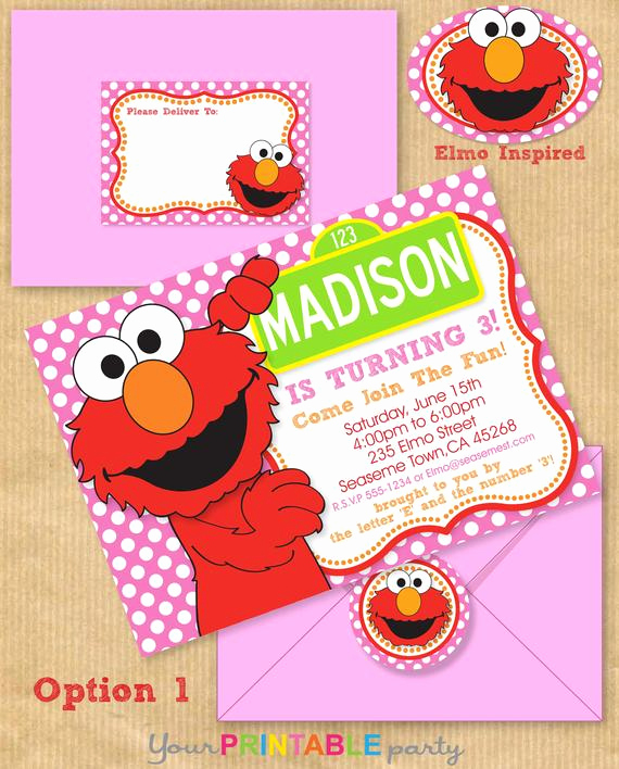 Elmo Invitation Template Free New Girls Elmo Party Invitation 5x7 with Address by