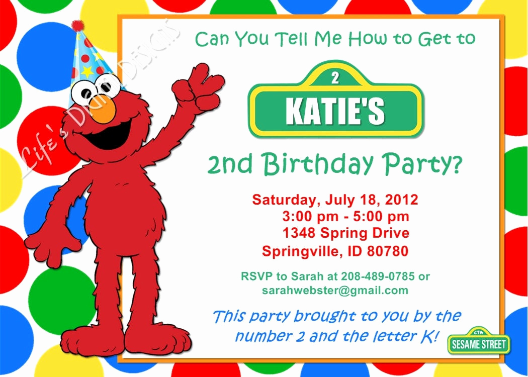 Elmo Invitation Templates Free Elegant Elmo Birthday Invitation Red Green Yellow Blue Dots