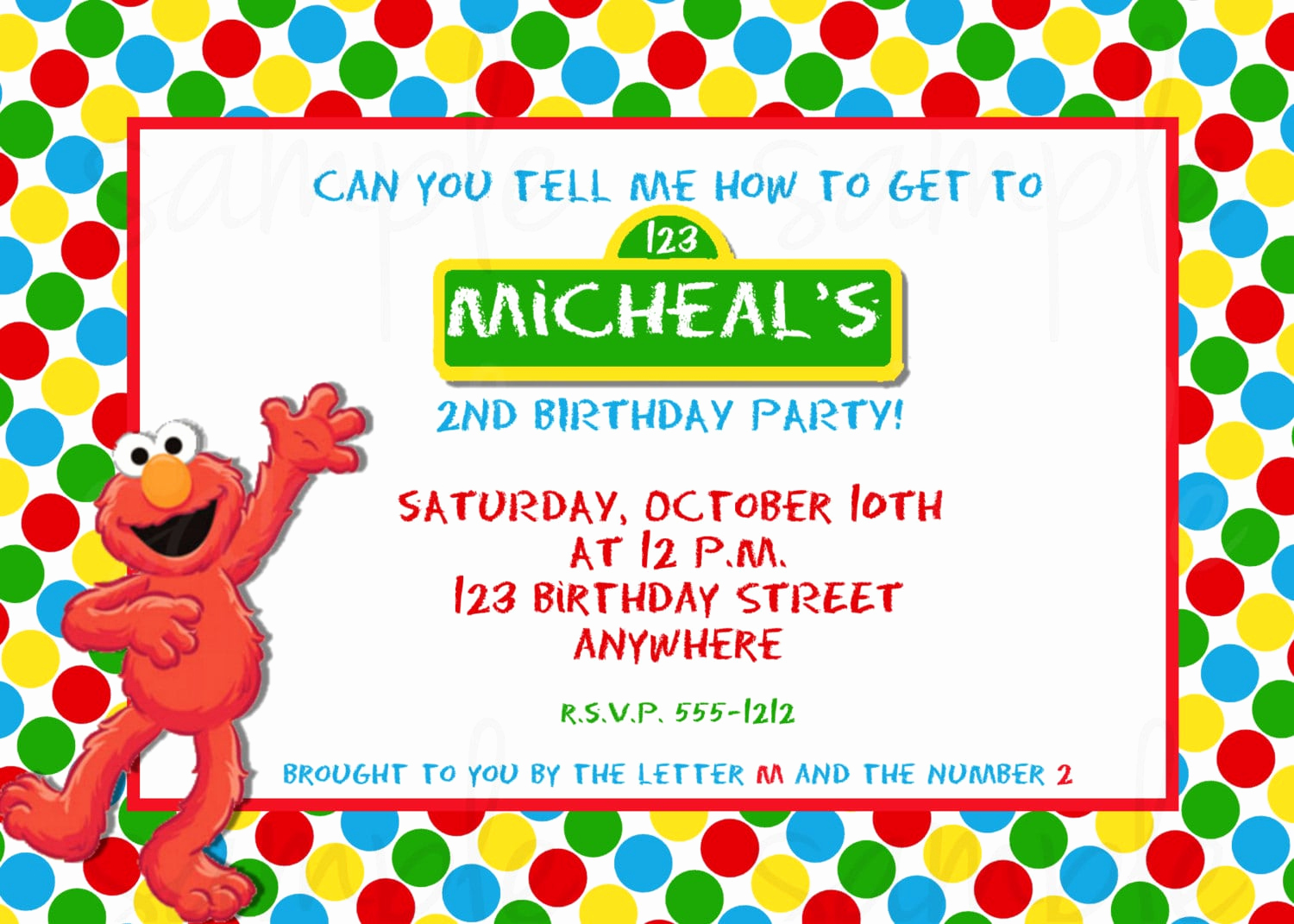 Elmo Invitation Templates Free Lovely Elmo Birthday Invitation Template