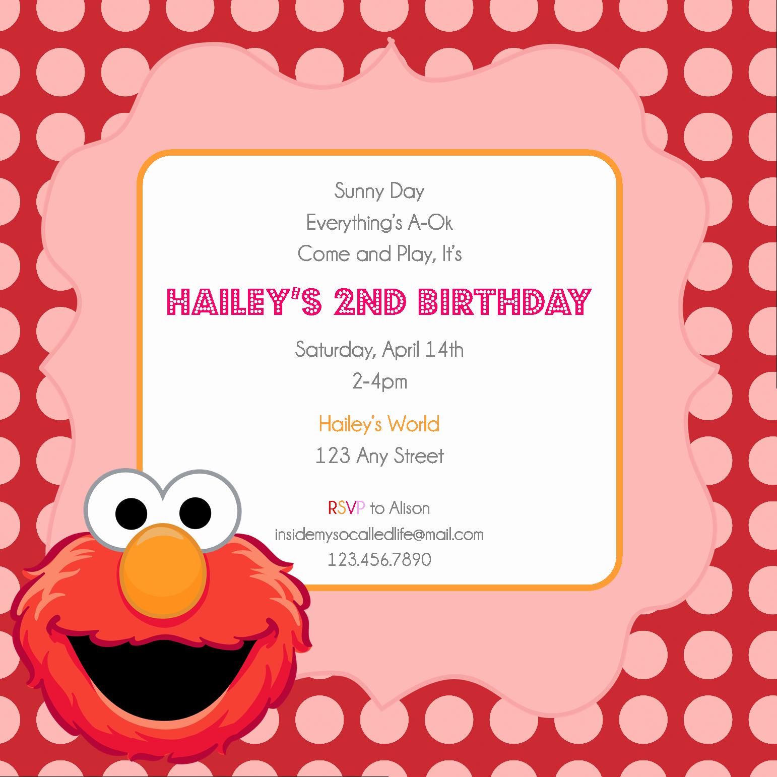 Elmo Invitation Templates Free Unique Elmo Printable Birthday Invitation