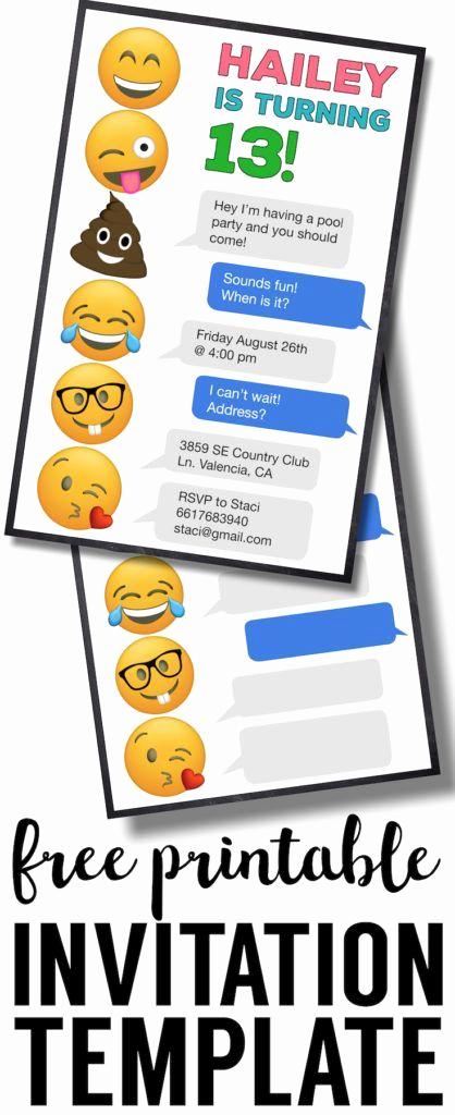 Emoji Birthday Invitation Template Awesome Emoji Birthday Invitations Free Printable Template