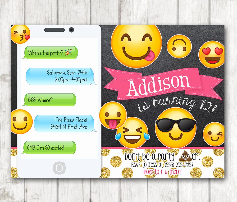 Emoji Birthday Invitation Template Awesome Printable Emoji Birthday Party Invitation Chalkboard Emoji