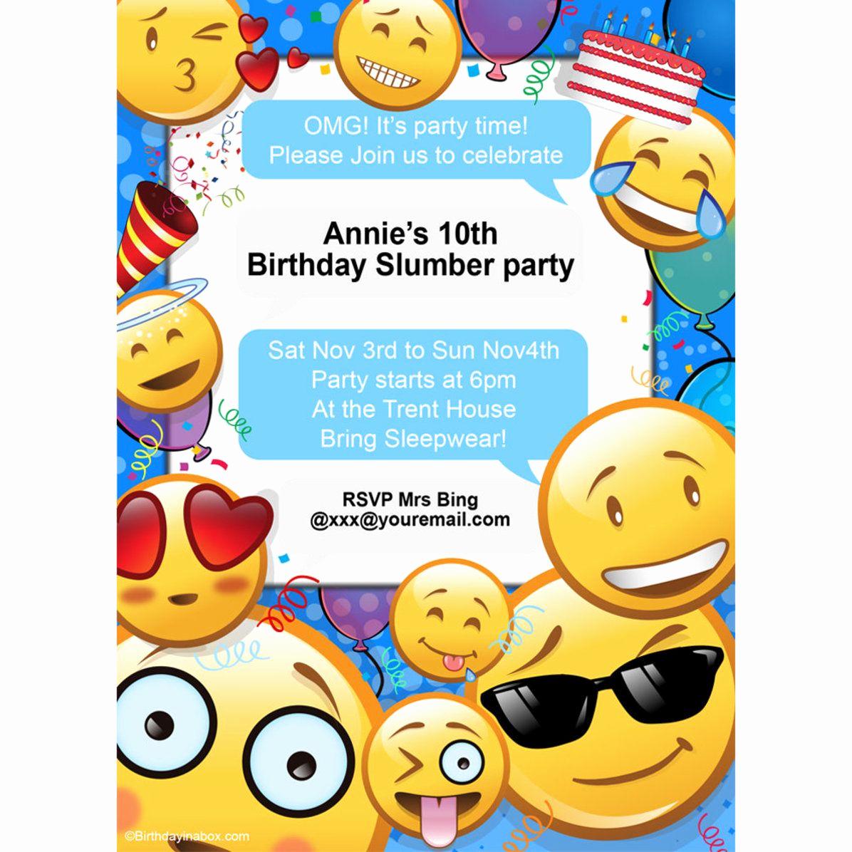 Emoji Birthday Invitation Template Beautiful Emoji Personalized Invitation Each Brian