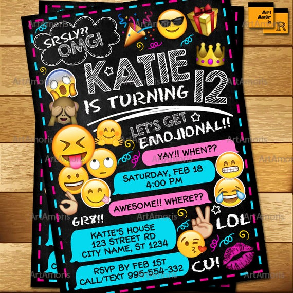 Emoji Birthday Invitation Template Best Of Emoji Invitation Emoji Birthday Invitations Teen Birthday