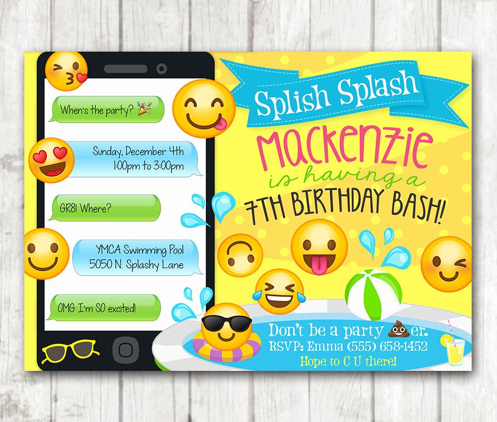 Emoji Birthday Invitation Template Best Of Printable Emoji Pool Party Party Invitation Swim Party Emoji