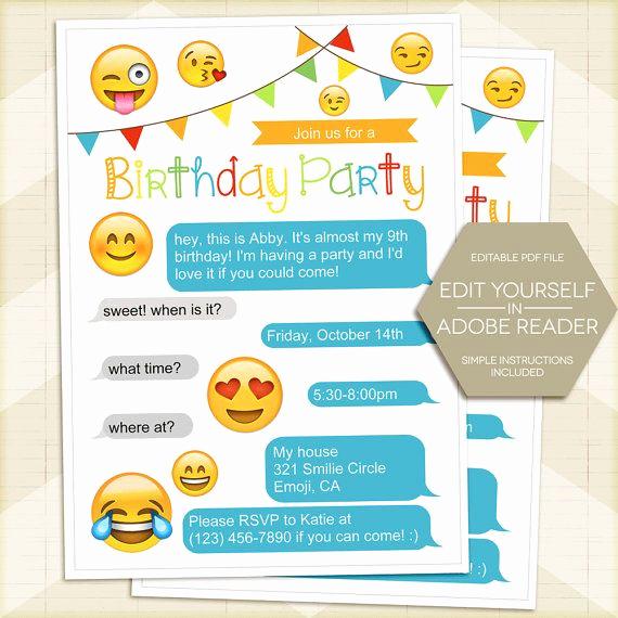 Emoji Birthday Invitation Template Elegant Emoji Invitation Instant Download Emoji Party Invitation
