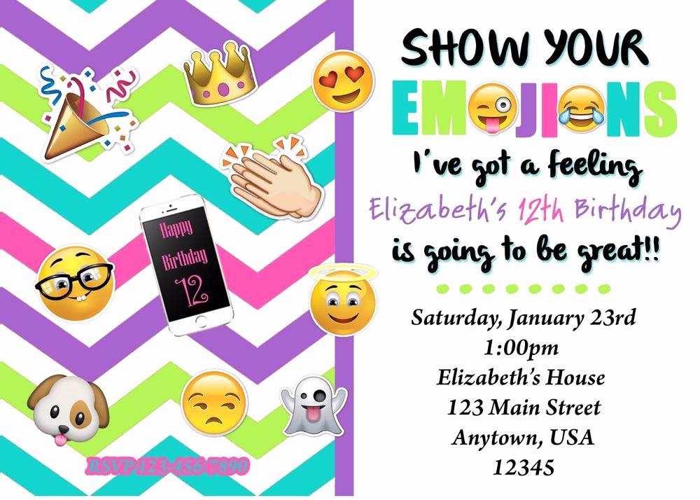 Emoji Birthday Invitation Template Fresh Emoji Birthday Invitation Emoji Invitations Birthday