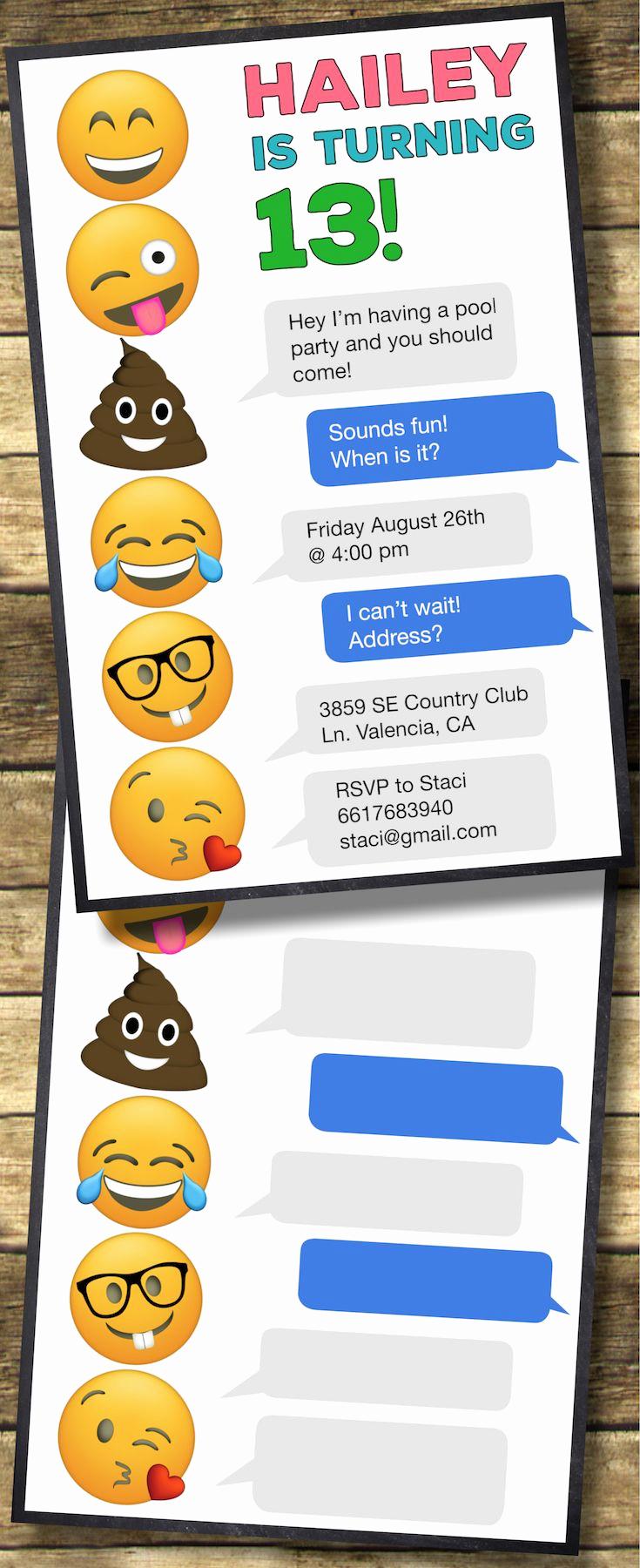 Emoji Birthday Invitation Template Inspirational Emoji Birthday Invitations Free Printable Template