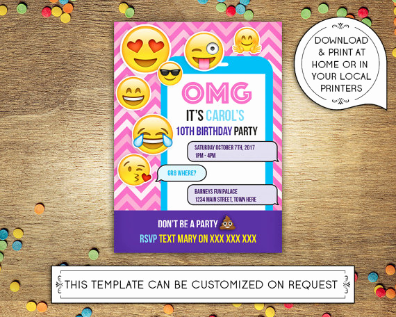 Emoji Birthday Invitation Template Lovely Diy Printable 5x7 Birthday Party Invitation Template Emoji