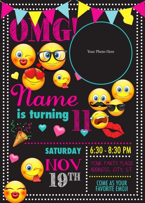 Emoji Birthday Invitation Template Luxury Hinkle Printing · Invitations