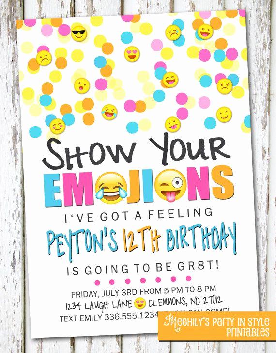 Emoji Birthday Invitation Template New Emoji Inspired Invitation by Meghilys On Etsy Emoji Invite