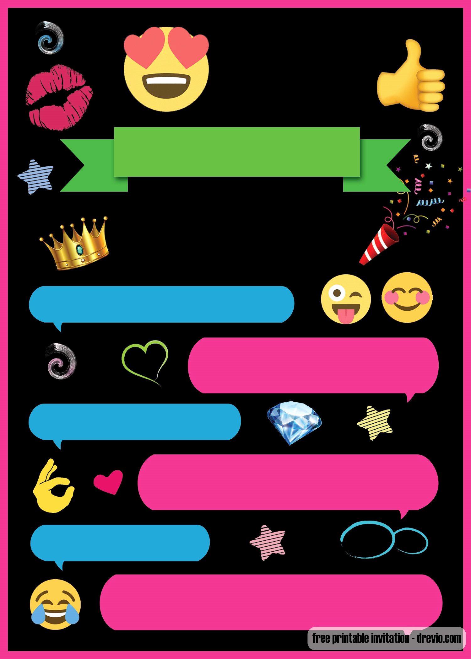Emoji Birthday Invitation Template Unique Free Printable Emoji Chat Invitation