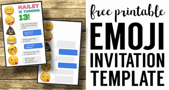 Emoji Invitation Template Free Awesome Emoji Birthday Invitations Free Printable Template Paper