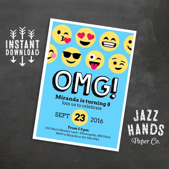 Emoji Invitation Template Free Best Of Emoji Birthday Invitation Template Blue Emoji Birthday