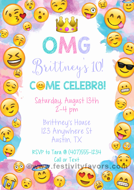 Emoji Invitation Template Free Best Of Emoji Birthday Party Invitations