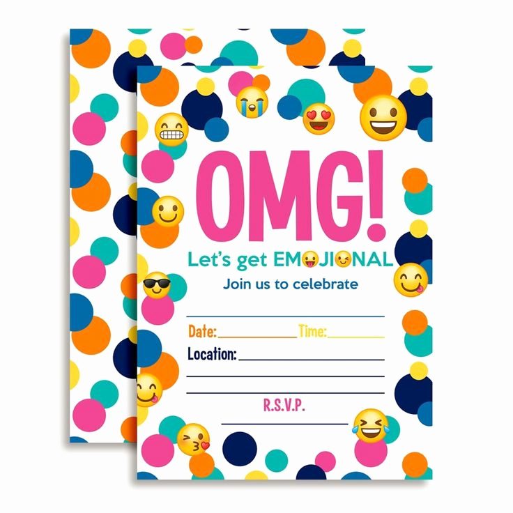 Emoji Invitation Template Free Elegant Amazon Emoji Birthday Party Fill In Invitations toys