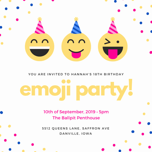 Emoji Invitation Template Free Elegant Colorful Emoji Confetti 18th Birthday Invitation