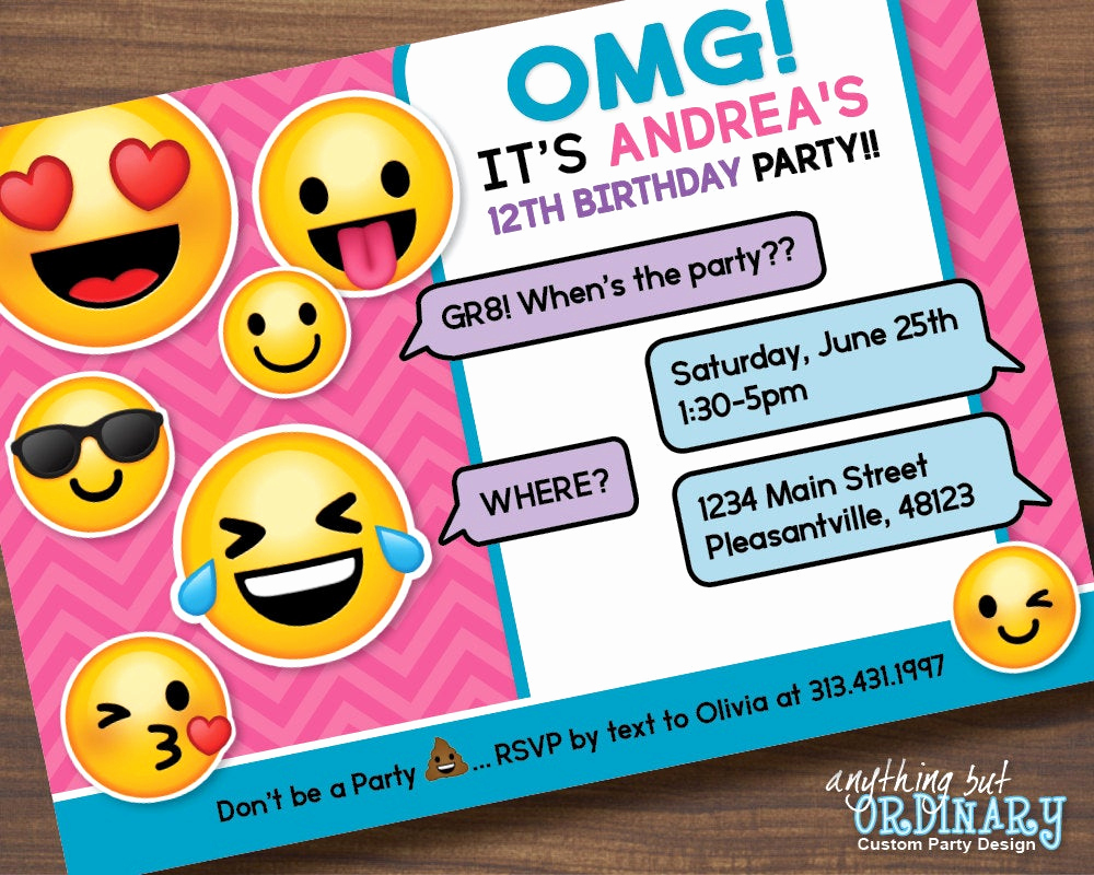 Emoji Invitation Template Free Elegant Printable Emoji Birthday Party Invite Girl S Emoji