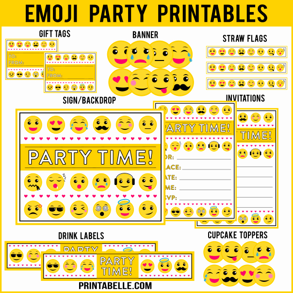 Emoji Invitation Template Free Fresh Emoji Birthday Party Printables