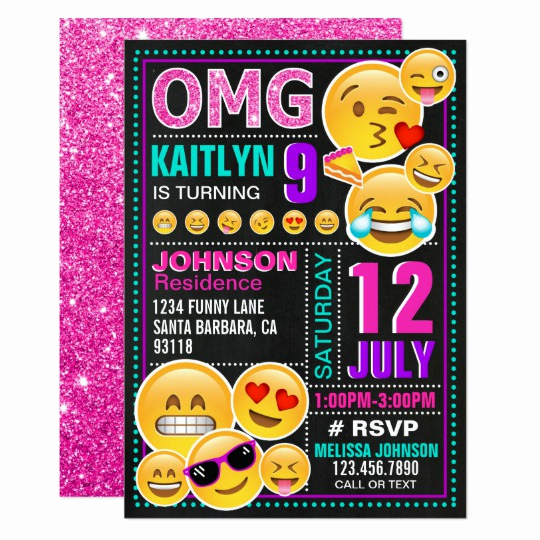 Emoji Invitation Template Free Inspirational Emoji Pink Glitter Birthday Invitation