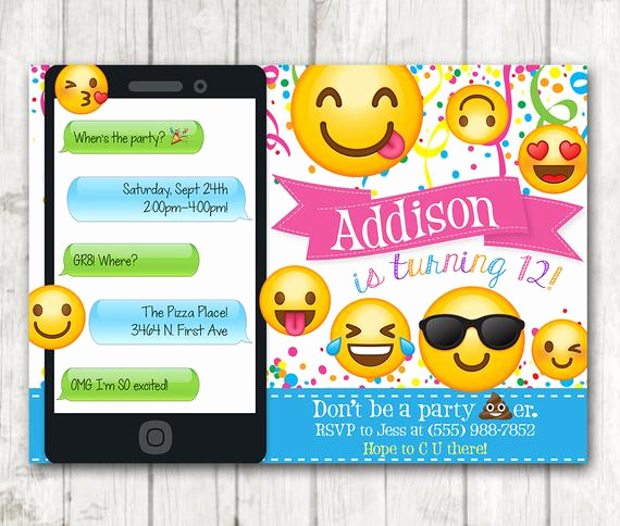 Emoji Invitation Template Free Lovely Printable Emoji Birthday Party Invitation Emoji Invitations
