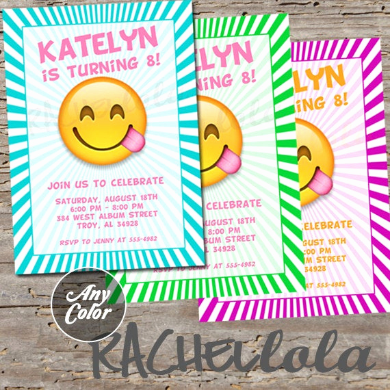 Emoji Invitation Template Free New Emoji Invitation Printable Digital Print