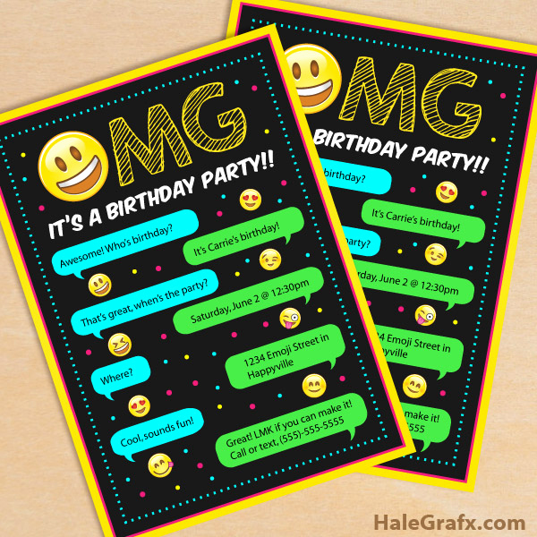Emoji Invitation Template Free New Free Printable Emoji Birthday Party Invitation