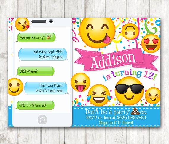 Emoji Invitation Template Free New Printable Emoji Birthday Party Invitation Emoji by