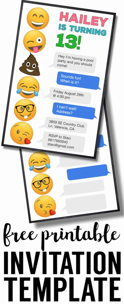 Emoji Invitation Template Free Unique Emoji Birthday Invitations Free Printable Template