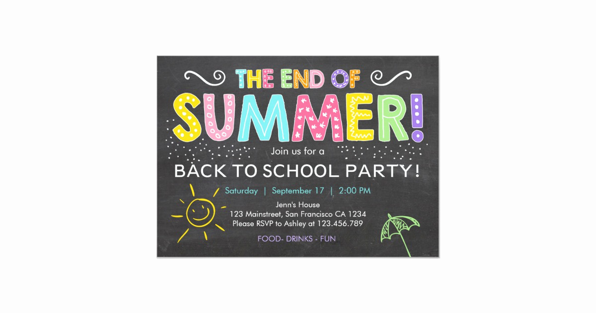 End Of Summer Party Invitation Awesome Back to School End Of Summer Party Invitation