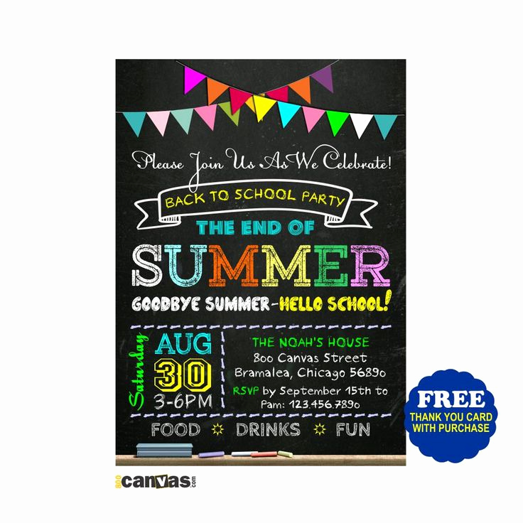 End Of Summer Party Invitation Awesome Back to School Party Invitation End Of Summer