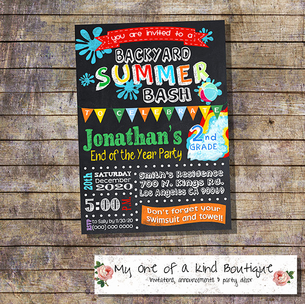 End Of Summer Party Invitation Awesome Graduation Summer Party Bash Invitation End Of the School Year