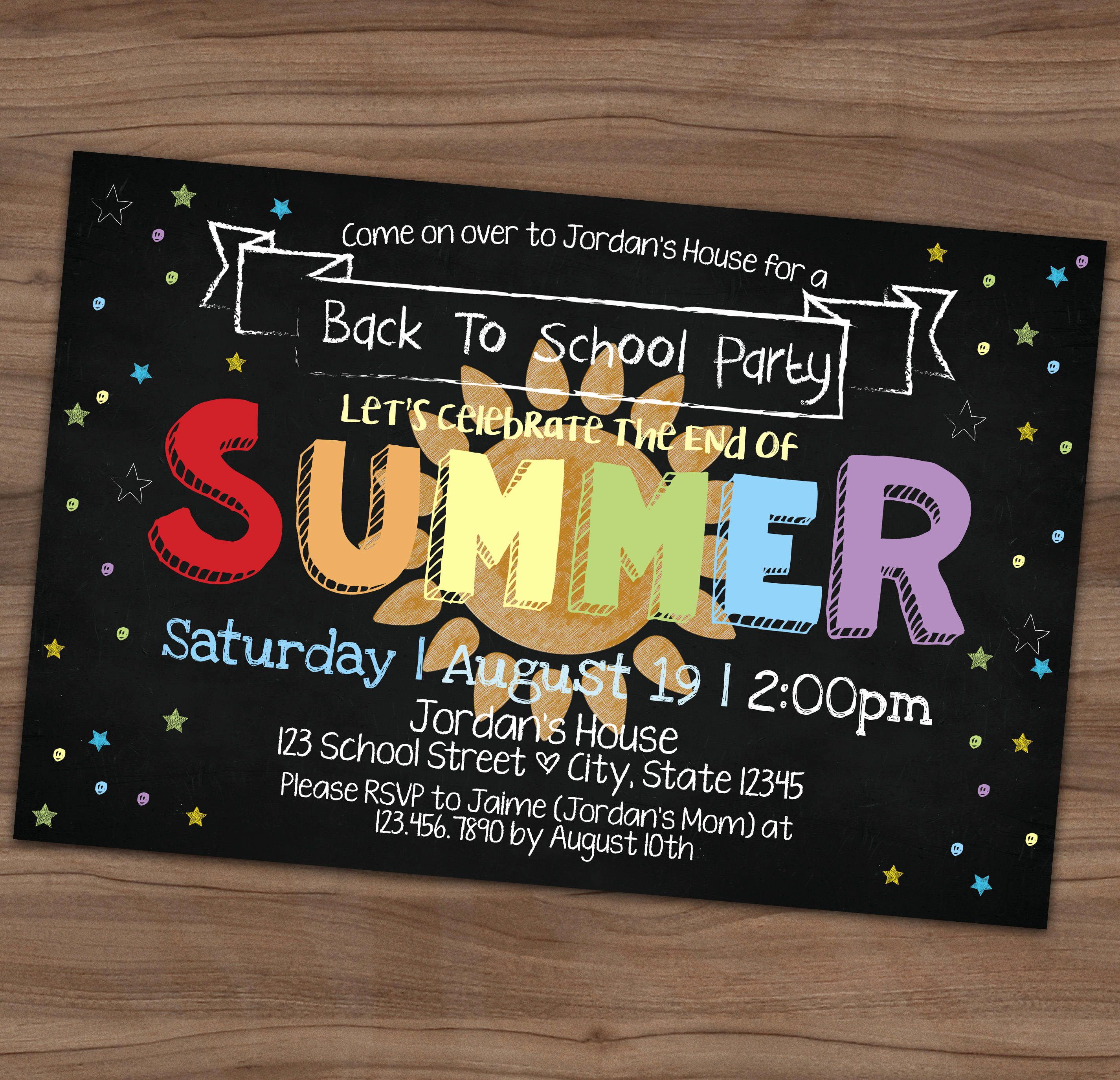 End Of Summer Party Invitation Elegant Back to School Party Invitation End Summer Vacation