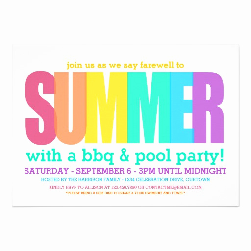 End Of Summer Party Invitation Elegant End Of Summer Party Custom Invitation