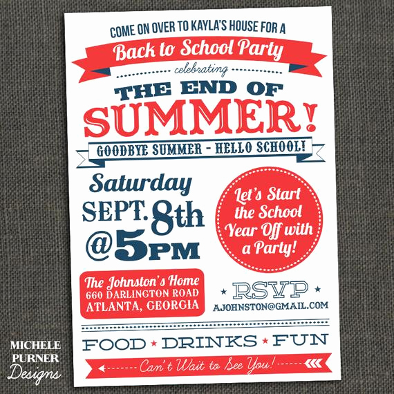 End Of Summer Party Invitation Elegant Items Similar to Back to School End Of Summer Party