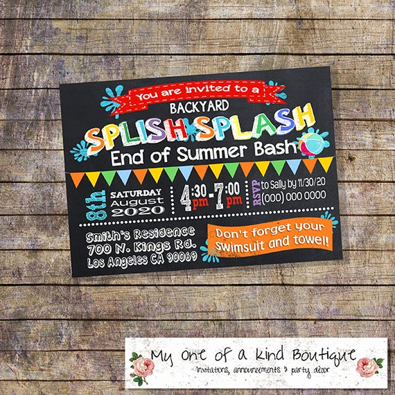End Of Summer Party Invitation Lovely End Of Summer Party Invitation Pool Party Splash Bash Invite