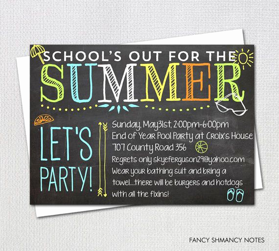 End Of Summer Party Invitation Luxury Pool Party Invitation End Of Year Party by