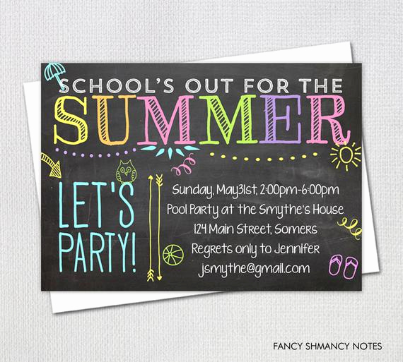 End Of Summer Party Invitation New Items Similar to Pool Party Invitation End Of Year Party