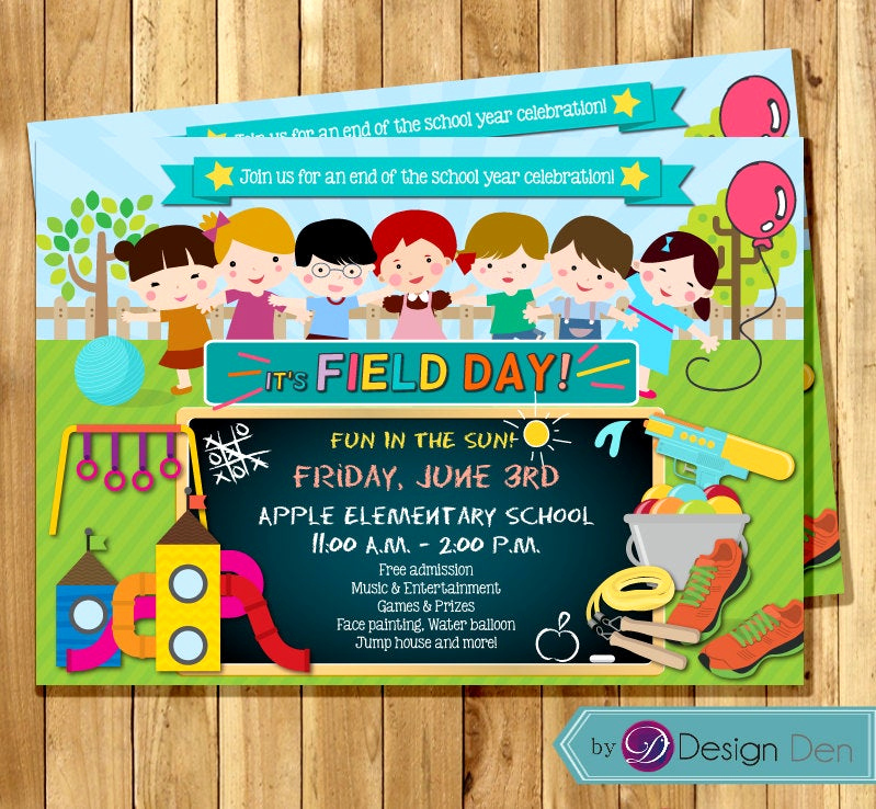 End Of Year Celebration Invitation Awesome School Field Day Invitation End Of Year Party Chalkboard