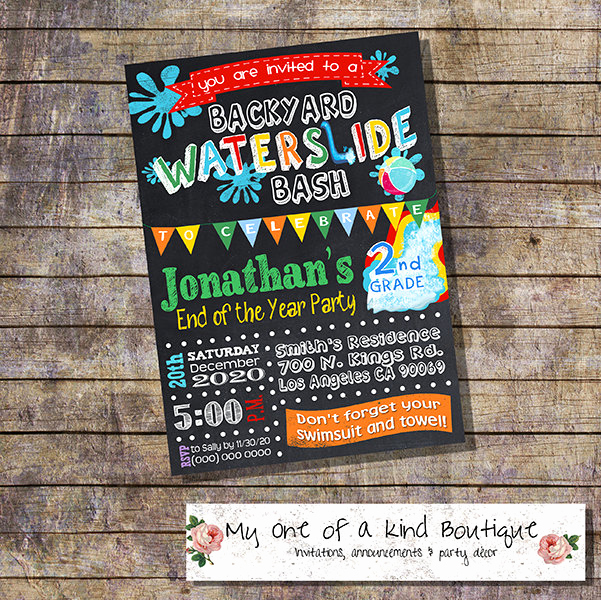 End Of Year Celebration Invitation Elegant Waterslide Party Bash Invitation End Of the School Year Pool