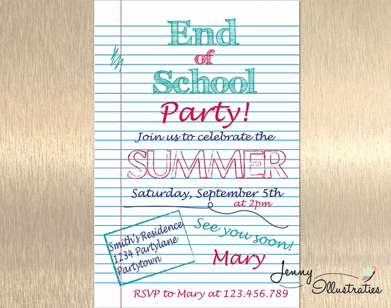 End Of Year Celebration Invitation Lovely End Of School Party Invitation Summer Party by