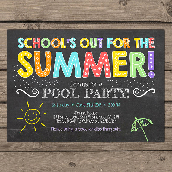 End Of Year Celebration Invitation New Summer Party Invitation Pool Party Invitation End Of Year